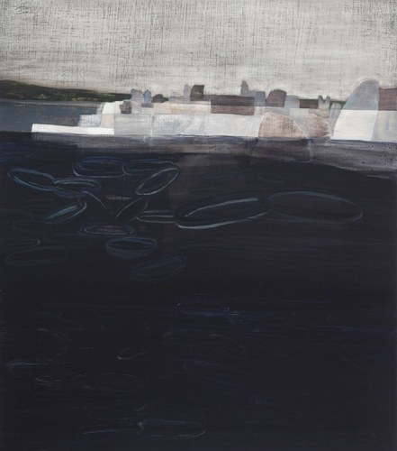 Rebecca Suss. Quarry (Hoops). 25 x 22 inches. oil on panel. 2009.