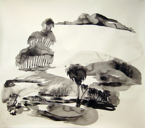 Rebecca Suss. Treegoda. 2009. India and sumi ink on paper. 48 x 48 inches.