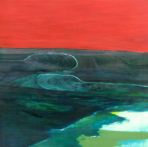 Rebecca Suss. Two Waves. 2009. Oil and wax on mixed media panel. 25 x 25 inches.