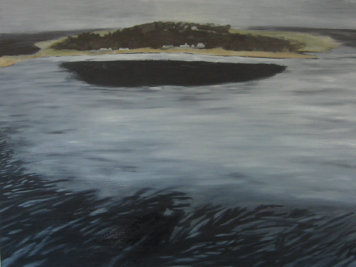 Rebecca Suss. Steppingstone (West Egg). 36 x 48 inches. oil on panel. 2009.