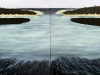 Rebecca Suss. East Egg / West Egg (diptych). 36 x 96 inches. oil on panel. 2009