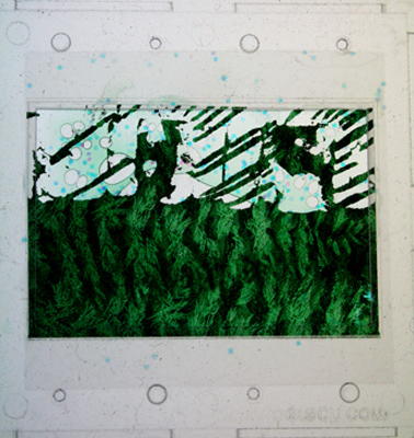 Clearchannel. 2007. mixed media transparency. 2 x 2 inches.