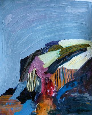 Rebecca Suss. Post, 2008. oil on paper. 11.75 x 9.5 inches