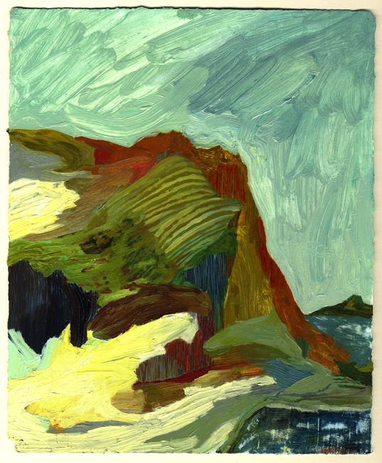 Rebecca Suss. Seaside, 2008. oil on paper. 11.5 x 9.5 inches