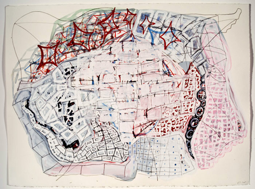 Frank Jackson. Map of the World #1. 2007. Gouache, water color, and pencil on paper. 11 x 15 inches.