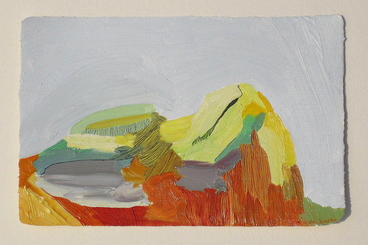 Rebecca Suss. Dune #2, 2008. oil on paper. 3.5 x 5 inches