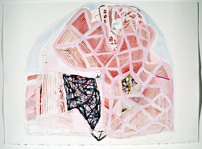 Frank Jackson. Map of the World #3. 2007. Gouache, water color, and pencil on paper. 11 x 15 inches.