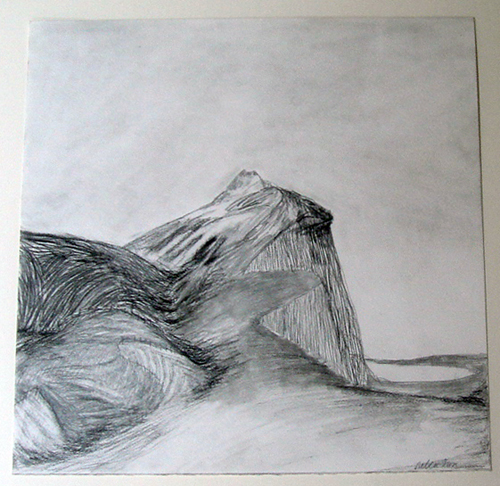 Rebecca Suss. Post #3, 2008. graphite, conte and charcoal on paper. 12 x 12 inches.