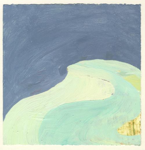 Rebecca Suss. Glacier #2, 2008. oil on paper. 7 x 7 inches.