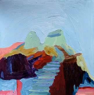 Rebecca Suss. Twin Plateaus, 2008. oil on paper. 7 x 7 inches