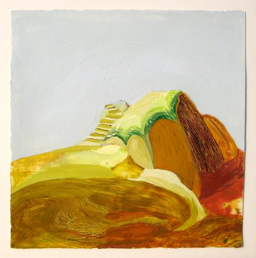 Rebecca Suss. Cave, 2008. oil on paper. 7 x 7 inches.