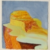 Rebecca Suss. Slope, 2008. oil on paper. 8 x 7.5 inches.