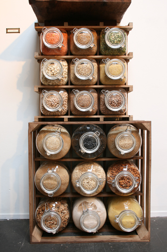 TREVOR BABB, Food crate, 2009. food, glass, white oak, metal, rubber. 20 x 20 x 11 inches.
