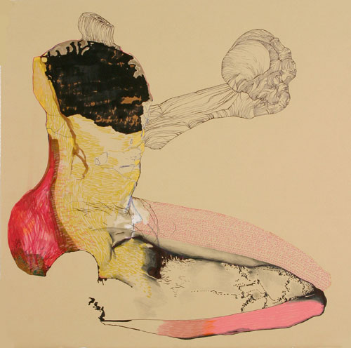 Anne Pearce. No, No, No, 2008. ink, pen and colored pencil on paper. 22 x 22 inches