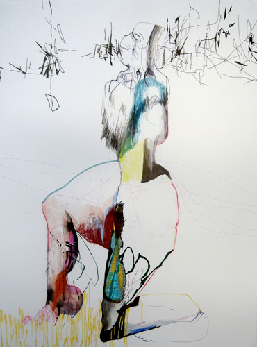 Anne Pearce. The Saucy Series #1-3, 2007. pen and colored pencil on paper. 22.5 x 30 inches