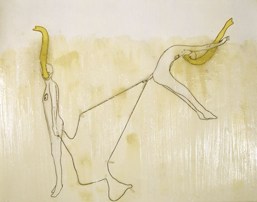 Emily Anne Driscoll. Trunk Drawing I (Jump), 2005. wax, pencil, carbon, animal glue with whiting, yellow architect\'s paper, string, tape on paper.  14 x 17.5 inches. Collection of Robert & Susan Wislow.