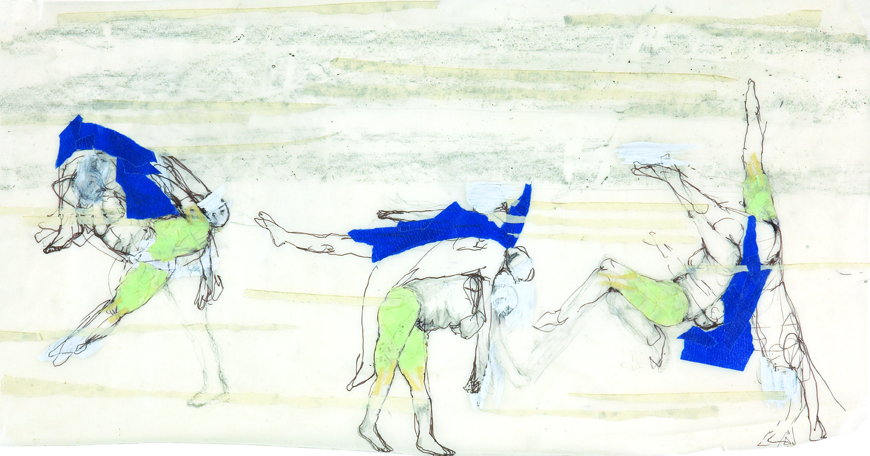 Emily Anne Driscoll. Parade Evolution, 2006. pencil, watercolor, pigment,  blue tape on tracing paper. 12 x 20 inches.