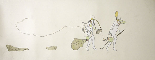 Emily Anne Driscoll. Fumigation Squad, 2006. pencil, carbon, animal glue with whiting, gouache, yellow architect\'s paper on paper. 18.75 x 26 inches. Collection of Robert & Susan Wislow.
