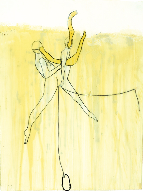 Emily Anne Driscoll. Dancers, 2005. wax, pencil, carbon, animal glue with whiting, yellow architect\'s paper, string, tape on paper. 18.5 x 14.5 inches.