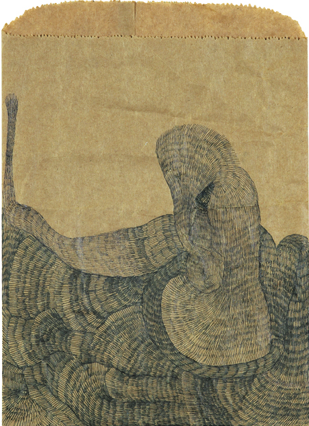 Emily Anne Driscoll. Untitled (India), 2006. black pen and ink on paper bag. 11 x 8 inches.