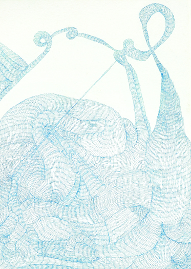 Emily Anne Driscoll. Untitled, 2007. blue pen and ink on paper. 7 x 9 inches.