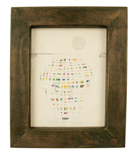 High Tide Artifacts (Ballon). 2009. graphite and collage on paper in artist\'s frame. 13.5 x 11 inches.