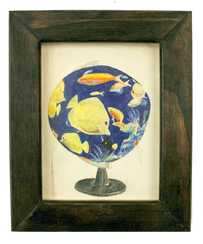 High Tide Artifacts (Fishtank). 2009. colored pencil and graphite on paper in artist\'s frame. 13.5 x 11 inches.