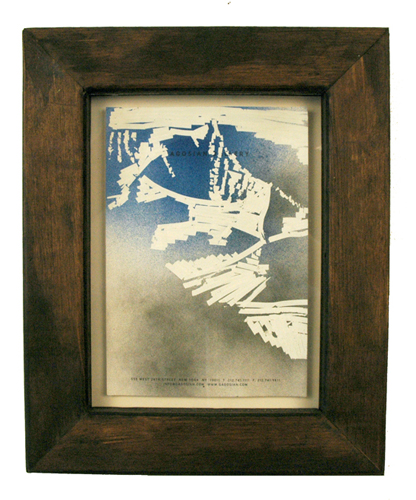 High Tide Artifacts (Mountain). 2009. spray paint and whiteout on Gagosian stationary in artist\'s frame. 13.5 x 11 inches.