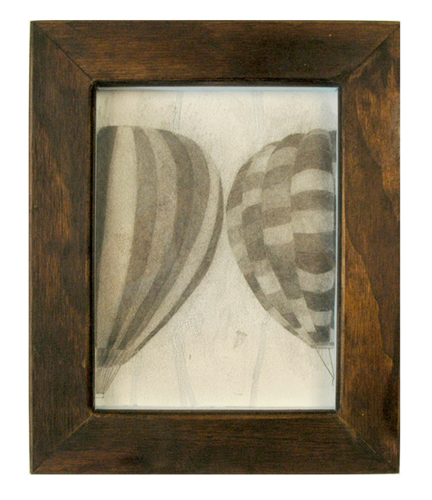 High Tide Artifacts (Hot Air Ballons). 2009. graphite on paper in artist\'s frame. 13.5 x 11 inches.