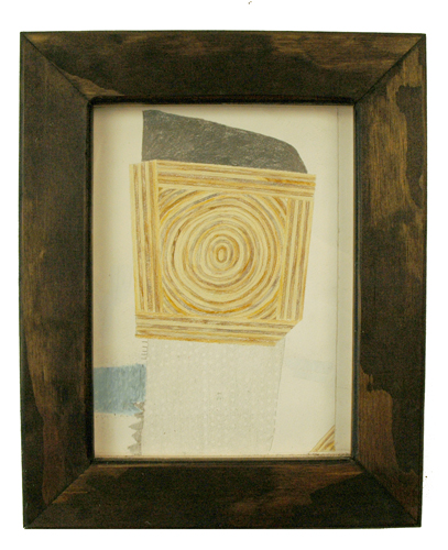 High Tide Artifacts (Plywood). 2009. colored pencil and graphite on paper in artist\'s frame. 13.5 x 11 inches.