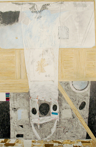 Chris Domenick. Bouyant Bedroom. 2009. graphite, marker, collage on paper. 52 x 75 inches.