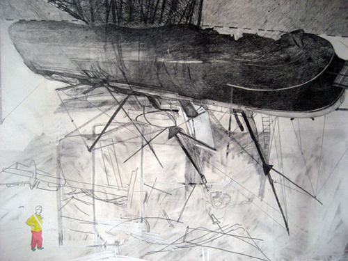 Chris Domenick. Shackelton\'s Foresight (detail). 2009. graphite, marker, collage on paper. 52 x 75 inches.