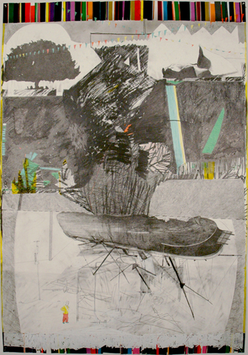 Chris Domenick. Shackelton\'s Foresight. 2009. graphite, marker, collage on paper. 52 x 75 inches.