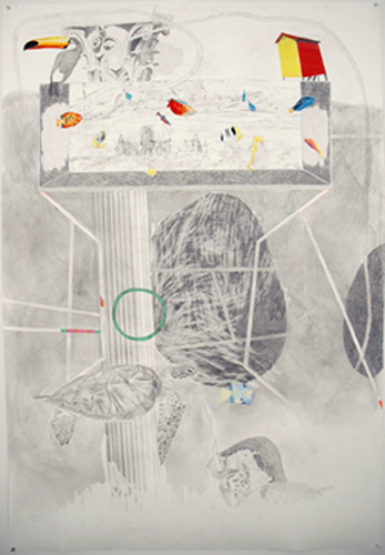 Chris Domenick. The Invasion. 2009. graphite, marker, collage on paper. 52 x 75 inches.