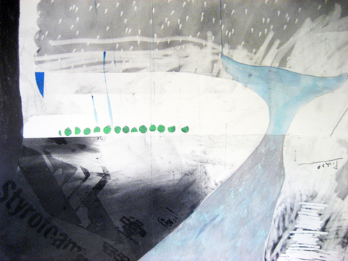 Chris Domenick. Wavemakers (detail). 2009. graphite, marker, collage on paper. 52 x 75 inches.