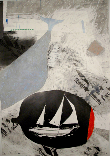 Chris Domenick. Wavemakers. 2009. graphite, marker, collage on paper. 52 x 75 inches.