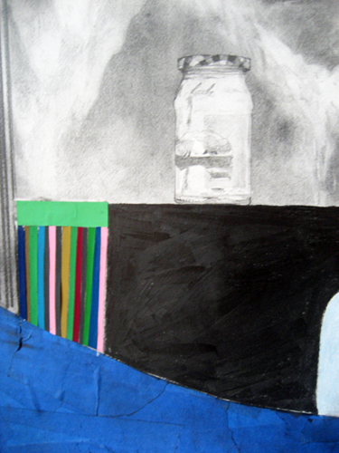 Chris Domenick. World at Bay (detail). 2009. graphite, marker, collage on paper. 52 x 75 inches.