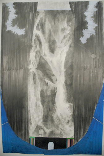 Chris Domenick. World at Bay. 2009. graphite, marker, collage on paper. 52 x 75 inches.