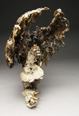 Jonathan Bridges. Ethereal Cockfighter. 2008. Porcelain, Earthenware, Graphite, Ink, Plastic, Wire, Brass, Straight razor, White topaz. 10