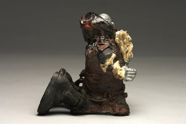 Jonathan Bridges. Big Boy. 2007. Earthenware, Stoneware, Chrome, Sterling silver, Plastic, Garnets, Citrine. 5 x 8