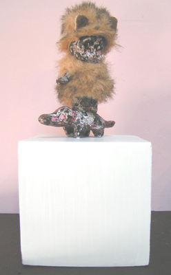 Mary Johnson. Shredder. 2008. Cast Bronze with dog toy pelts. 5 x 4 x 5 inches.
