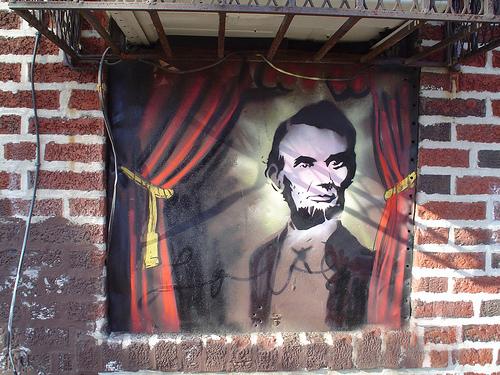 Love Billy. Fortune Teller Abe, 2010. Spray paint on brick, Hicks & Union Street.