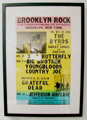 David Driscoll. Framed Brooklyn Rock concert poster.