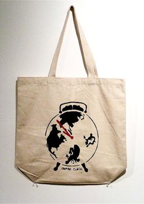 Liz Suda. Empire Clock. Cloth bag with silkscreen print by Suda.