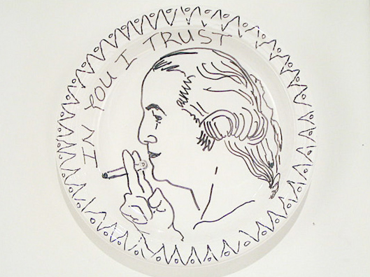 Miguel Payano. Plastic plate and marker.