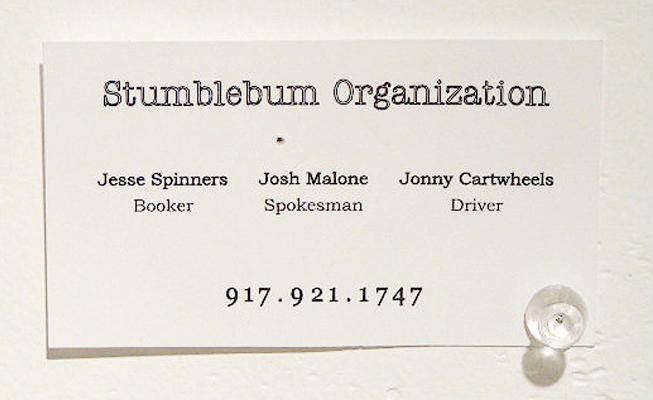 Stumblebum Brass Trio. Business card.