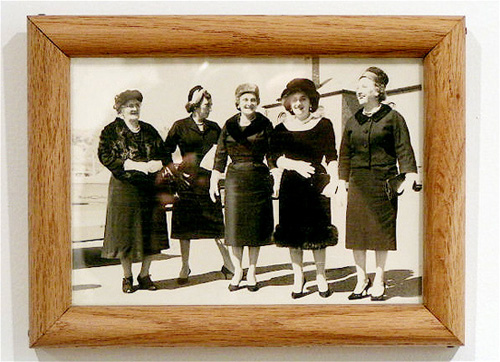 Rosanne Driscoll. Framed photo of Emily Driscoll\'s maternal Great-Grandmother (l.), Grandmother (2nd from l.), and Great Aunts (3rd from l. to r.)