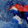 Walker Waugh. Blue Wins in the Sleeping. 2002. Oil on woodblock. 2 x 4 inches.