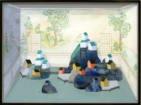 Patrick Campbell. Exhibition Room B, 2009. Pencil, ink, acrylic, glass, wood and semi-precious stones on paper in poplar frame, museum acrylic. 23 x 31 inches.