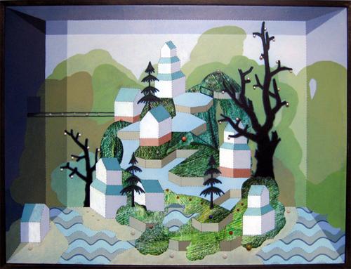Patrick Campbell. Curioscape 2, 2007. Acrylic, oil, pearls & semi-precious stones on panel in poplar frame. 19 x 24.75 x 2.5 inches.